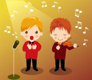 Singing boy. And Playing the violin boy Royalty Free Stock Photo