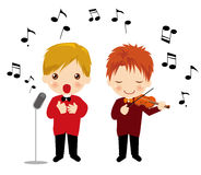 Singing boy. And Playing the violin boy Stock Images
