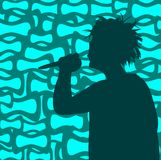 Singing Boy. Vector Illustration on Retro Background royalty free illustration