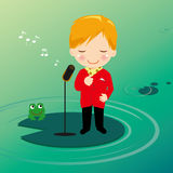 Singing boy on waterlily. Singing boy and frog on waterlily Vector Illustration