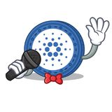 Singing Cardano coin character cartoon. Vector illustration Stock Images