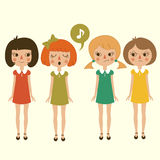 Singing cartoon girls character,. Funny and cute kids Vector Illustration