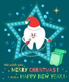 Singing cartoon tooth in Santa hat with dental floss. vector illustration