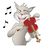 Singing cat. A cat singing a song and playing a violin Royalty Free Stock Image