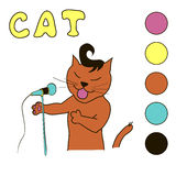Singing cat coloring book for children and teen Royalty Free Stock Image