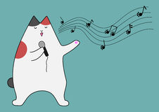 Singing cat. Cut calico cat singing a sing Stock Photography
