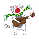 Singing cat, plays guitar on white background. Royalty Free Stock Photo