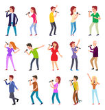 Singing Characters Isolated. Man Woman Entertain. Singing characters isolated on white. Man and woman entertain by singing. Famous pop singers. Karaoke concept royalty free illustration
