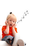 Singing child. Sits on white background Stock Photo