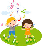 Singing children Stock Images
