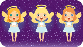 Singing Christmas angels. Angels are singing in the Christmas night Stock Images