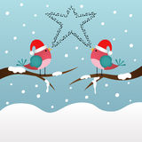 Singing Christmas birds Stock Photography