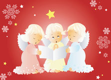 Singing Christmas carols. Red Christmas card with cute cherubs singing Christmas carols ,with snowflakes and stars Royalty Free Stock Image