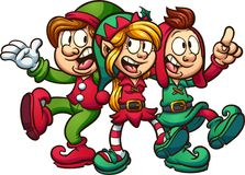 Singing Christmas elves. Cartoon singing Christmas elves. Vector clip art illustration with simple gradients. All in a single layer Stock Photo