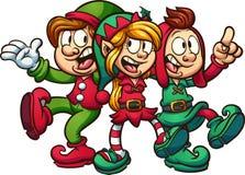Singing Christmas elves Stock Photo