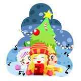 Singing christmas kids - vector Stock Photo