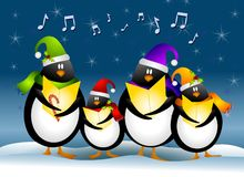 Singing Christmas Penguins. A clip art illustration of a cartoonish group of singing penguin Christmas Carolers dressed for the holidays and surrounded by Stock Photography