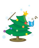 Singing Christmas Tree. As a good cover for the xmas card season Stock Photography
