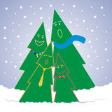 Singing Christmass Trees. Vector illustration - funny Christmas trees singing Royalty Free Stock Images