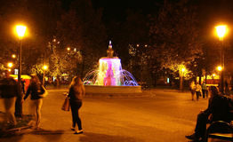 Singing colored fountain in the Minin square Royalty Free Stock Photos