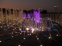 Singing colorful fountain in Tsaritsyno, moscow. In the evening Royalty Free Stock Photography