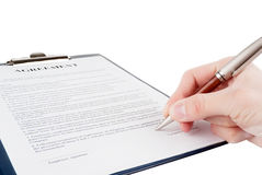 Singing the contract (agreement) Stock Photos