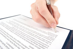 Singing the contract (agreement) Stock Photo