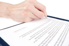 Singing the contract (agreement) Stock Image