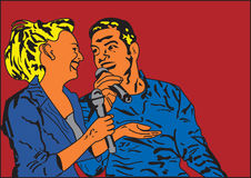 Singing couple. Illustration of man and women singing together Royalty Free Stock Photos