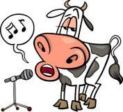 Singing cow cartoon illustration Stock Photos