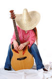 Singing cowgirl on rest royalty free stock image
