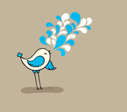 Singing cute bird. Vector  illustration cute bird Singing Royalty Free Stock Photography