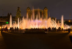 Singing dancing fountains in Prague in the evening. light show on the water. Stock Photography