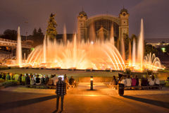 Singing dancing fountains in Prague in the evening. light show on the water. Czech Republic, Prague. Singing dancing fountains in Prague in the evening. light Royalty Free Stock Image