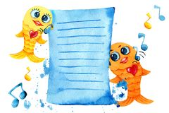 Singing and dancing goldfish. Cartoon character in watercolor. Children`s drawing with fish, notes and player for the design of