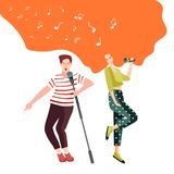 Singing and dancing with microphones young people at a concert for the audience or sing in a karaoke club royalty free illustration