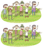 Singing Differences Visual Game. Task: find 10 differences! Solution in hidden layer ( file only). Illustration is in eps8  mode Royalty Free Stock Images