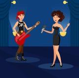 Singing in Duet in Night Club Vector Illustration royalty free illustration