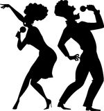 Singing duet silhouette Royalty Free Stock Photo