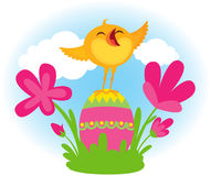 Singing Easter chick Royalty Free Stock Image