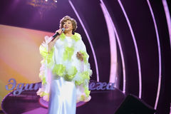 Singing Edyta Piecha at her anniversary concert Royalty Free Stock Photography
