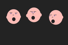 Singing faces. An illustration of three singing faces Stock Photos