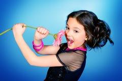 Singing fashionista Stock Images