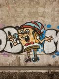 Graffiti, the singer, the drawing on a wall Royalty Free Stock Image