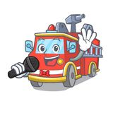 Singing fire truck mascot cartoon. Vector illustration Stock Photography