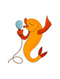 Singing fish with microphone. Vector cartoon . Yellow inging fish with microphone. Vector color image Royalty Free Stock Images
