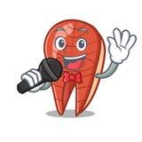 Singing fish slice mascot cartoon. Vector illustration Stock Photos
