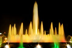 The singing fountain in Barcelona. The singing fountains. One of the most interesting dostoprimechatelsty Barcelona Spain. The fountain changes the colors and royalty free stock image