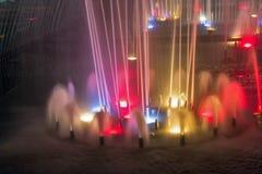 Night Singing fountain in Kosice Old Town, Slovakia. Stock Photo