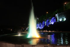 Singing fountain at Rike square Tbilisi at night Stock Image